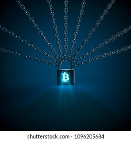 Bitcoin blockchain concept / 3D illustration of chains held together by lock with bitcoin shaped keyhole