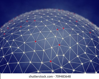 Bitcoin blockchain technology , Cryptocurrency distributed network , 3d illustration