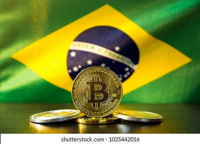 Bitcoin and Brazil Flag. Concept for investors in cryptocurrency and Blockchain Technology in Brazil.