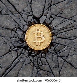 Bitcoin breaking the rock. 3d illustration.