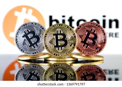 Bitcoin (BTC) and BITCOIN ACCEPTED HERE logo. Mass adoption and increase in the price of cryptocurrencies.