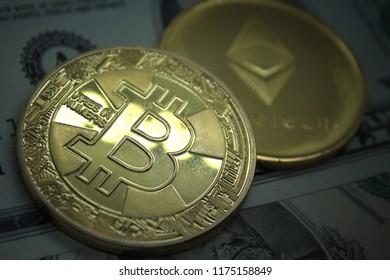 Bitcoin, BTC, Bit Coin. Crypto currency Ethereum, ETH, Crypto Coins