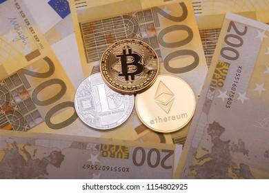 Bitcoin btc crypto currency coin over 200 euro bank notes