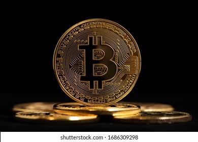 Bitcoin BTC Cryptocurrency Coins. Stock Market Concept. BTC to USD Cryptocurrency Bitcoin BTC