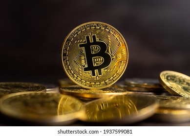 Bitcoin BTC Cryptocurrency Coins. Stock Market Concept.