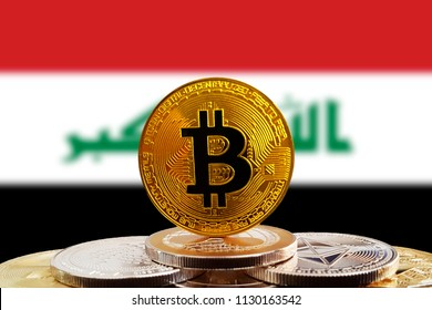 Bitcoin BTC on stack of cryptocurrencies with Iraq flag in background. The cryptocurrency coin is golden and in focus
