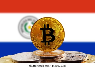 Bitcoin BTC on stack of cryptocurrencies with Paraguay flag in background. The cryptocurrency coin is golden and in focus