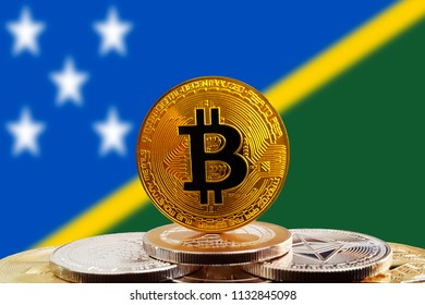 Bitcoin BTC on stack of cryptocurrencies with Solomon Islands flag in background. The cryptocurrency coin is golden and in focus