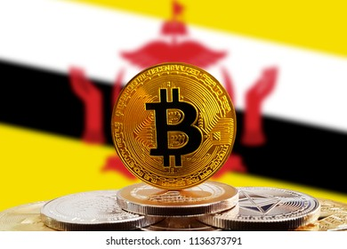 Bitcoin BTC on stack of cryptocurrencies with Brunei flag in background. The cryptocurrency coin is golden and in focus