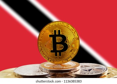 Bitcoin BTC on stack of cryptocurrencies with Trinidad and Tobago flag in background. The cryptocurrency coin is golden and in focus