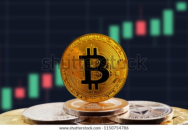Bitcoin BTC on stack of cryptocurrencies with rising bullish graph in background. The cryptocurrency coin is golden and in focus. This is a price concept of Bitcoin climbing up market.