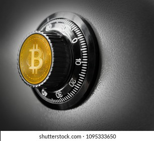 Bitcoin BTC safe steel box currency safety concept metaphor