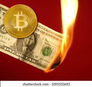 Bitcoin BTC versus dollar burning in fire takeover concept