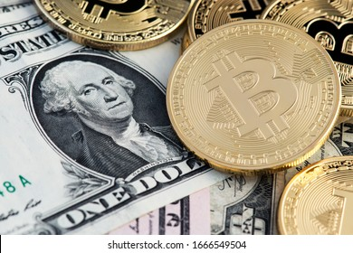 Bitcoin BTC virtual money and US Dollar banknotes. Background with Bitcoin cryptocurrency coins and US Dollar. Bitcoin cryptocurrency concept. USD to BTC