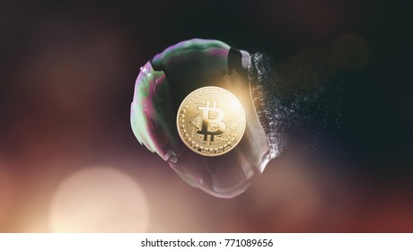 Bitcoin bubble burst - digital cryptocurrency concept image