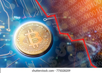 Bitcoin bubble burst and market crash as people sell their currency and get out of the market.