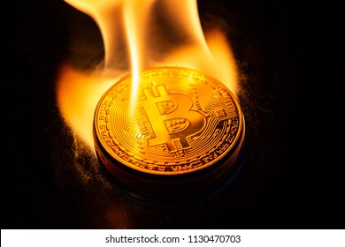 bitcoin burning in fire on black background