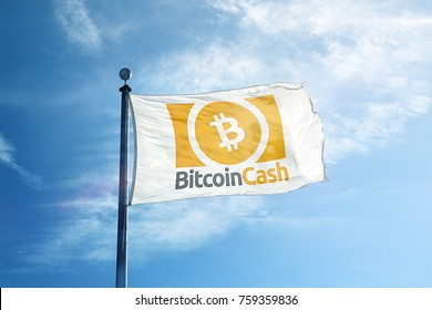 Bitcoin Cash Logo Flag (Orange)