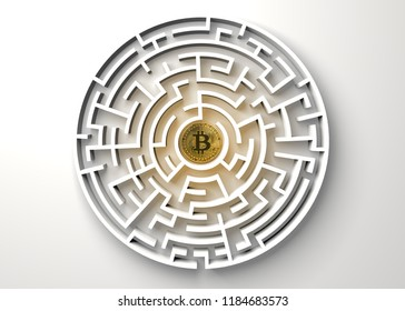 bitcoin in the central point of maze view from above.