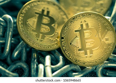 Bitcoin and chain. Crypto currency