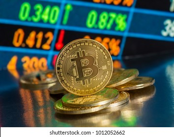 Bitcoin with chart background. New virtual cryptocurrency concept.