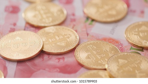 Bitcoin and chinese banknote, RMB