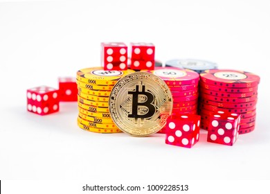 bitcoin and chip for a poker