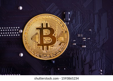 bitcoin and the circuit board close up
