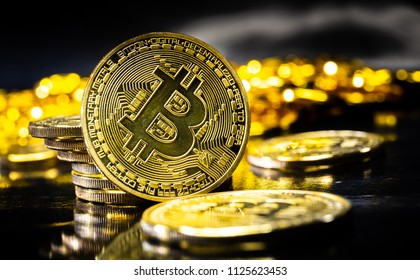 Bitcoin close up. Physical bit coin. Digital currency