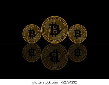 Bitcoin Coin, Abstract on Black background