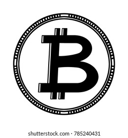 Bitcoin coin black and white illustration; Bitcoin sign