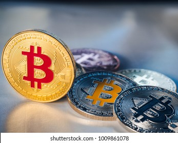 Bitcoin coin business concept. Bitcoin cryptocurrency. Bitcoin coin electronic money model.