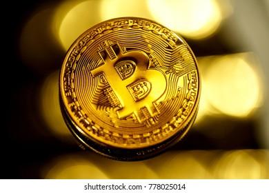 Bitcoin coin in closeup