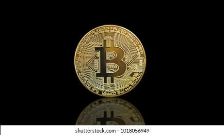 Bitcoin coin - golden Bitcoin coins on black mirror surface