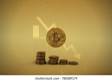 Bitcoin coin with golden bitcoin symbol on the coins stack stairs with decreasing chart as a background