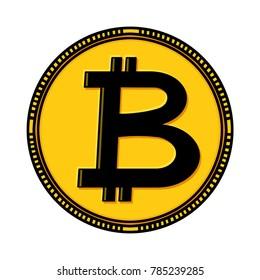 Bitcoin coin illustration; Bitcoin sign