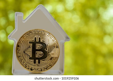 Bitcoin coin in a metal house on a green background. Rent or buy a house for bitcoins.