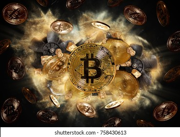 Bitcoin coin and mound of gold nuggets. Bitcoin cryptocurrency