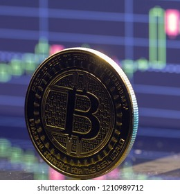 Bitcoin coin on the background graphics close-up