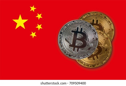 Bitcoin coin on the China background