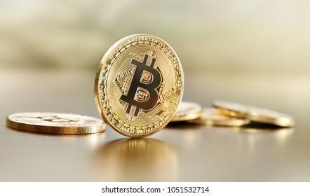 Bitcoin coin on table