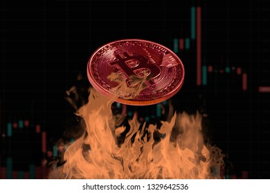 Bitcoin coin toasted on fire with candlestick chart as background