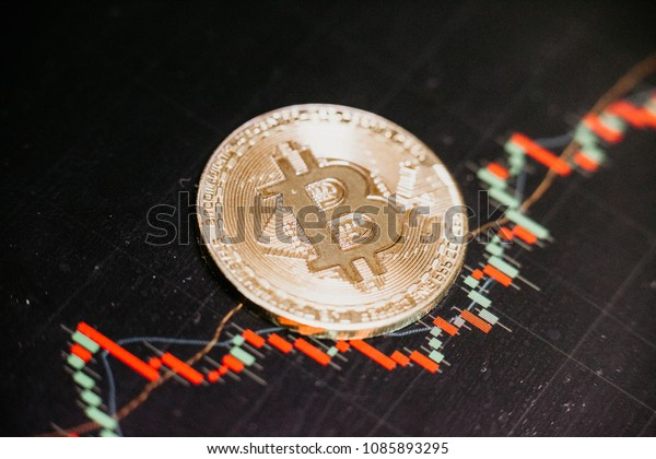 bitcoin coin and trading market data chart. virtual cryptocurrency concept