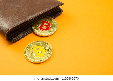 Bitcoin coin virtual money in wallet. Concept of blockchain technology, digital money, e-wallet, cryptocurrency for shopping e-commerce or shop. Bitcoin is a cryptocurrency form of electronic cash.
