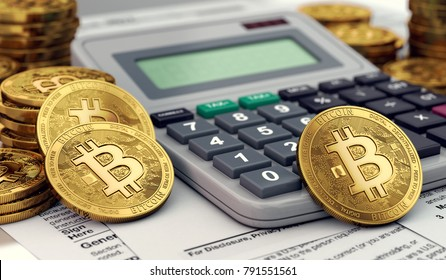 Bitcoin coins against calculator and tax forms. Tax preparation from profits from cryptocurrencies. 3D rendering