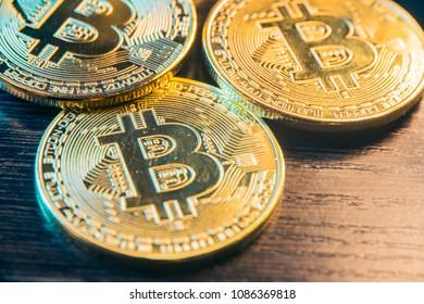 bitcoin coins close up