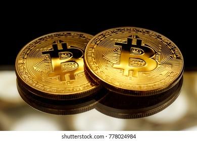 Bitcoin coins in closeup