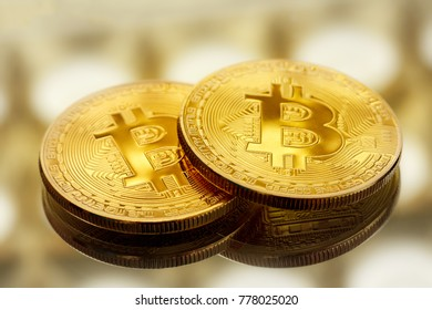 Bitcoin coins in closeup