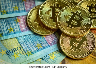 Bitcoin coins and euro background