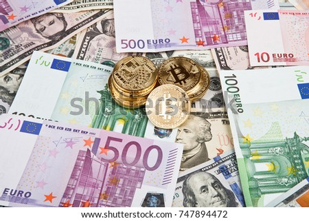 Bitcoin Coins With Euros And Dollars